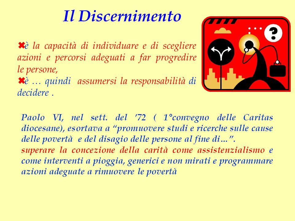 """Paolo VI, nel sett. del '72 ( 1°convegno delle Caritas diocesane), esortava a """"promuovere studi e ricerche sulle cause delle povertà e del disagio del"""