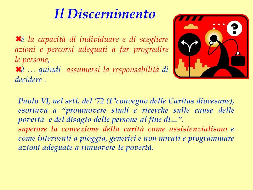"""Paolo VI, nel sett. del '72 (1°convegno delle Caritas diocesane), esortava a """"promuovere studi e ricerche sulle cause delle povertà e del disagio dell"""