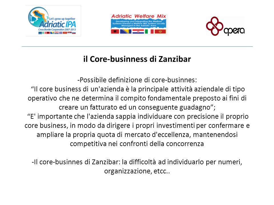 """il Core-businness di Zanzibar -Possibile definizione di core-businnes: """"Il core business di un'azienda è la principale attività aziendale di tipo oper"""