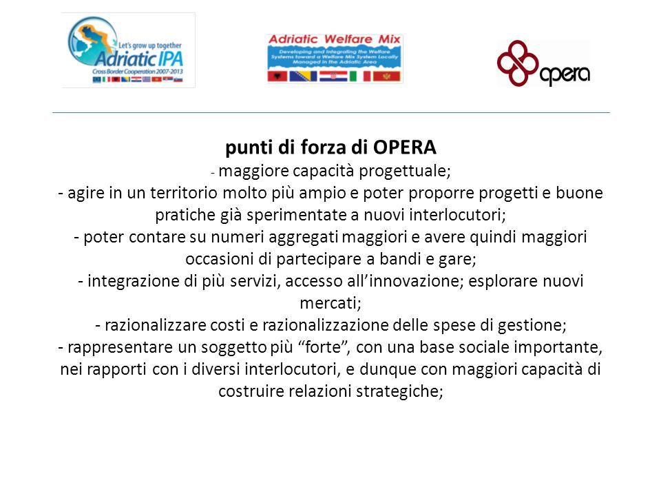 punti di forza di OPERA - maggiore capacità progettuale; - agire in un territorio molto più ampio e poter proporre progetti e buone pratiche già speri