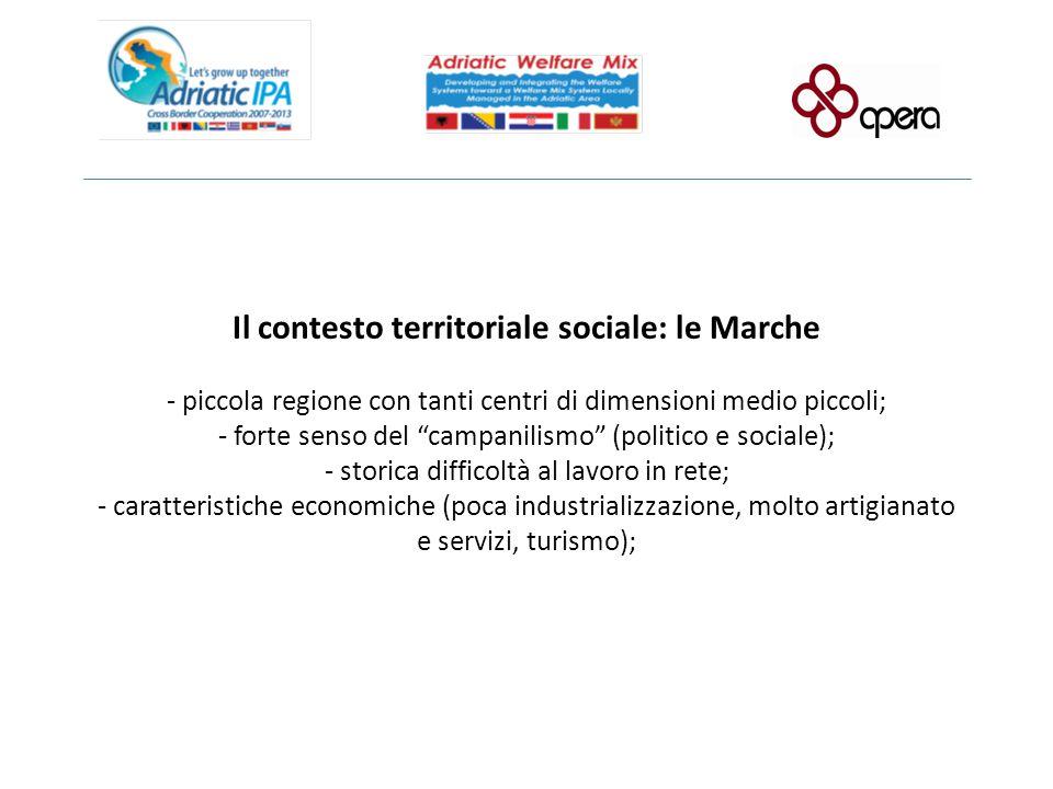 """Il contesto territoriale sociale: le Marche - piccola regione con tanti centri di dimensioni medio piccoli; - forte senso del """"campanilismo"""" (politico"""