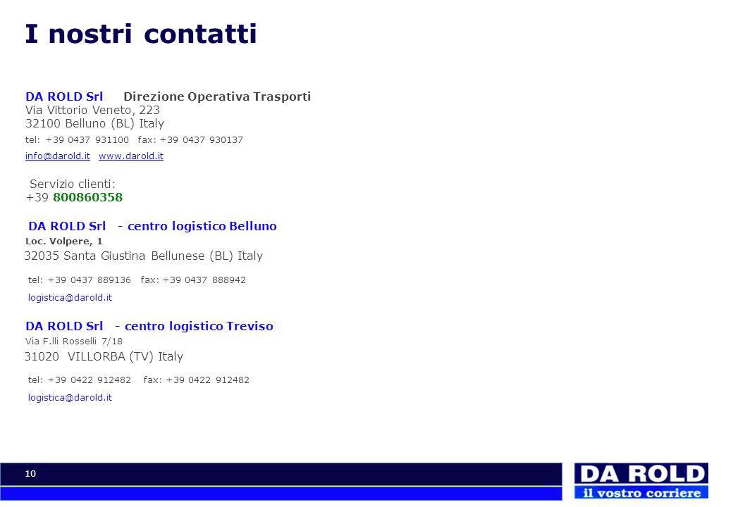 10 I nostri contatti DA ROLD Srl Direzione Operativa Trasporti Via Vittorio Veneto, 223 32100 Belluno (BL) Italy tel: +39 0437 931100 fax: +39 0437 93