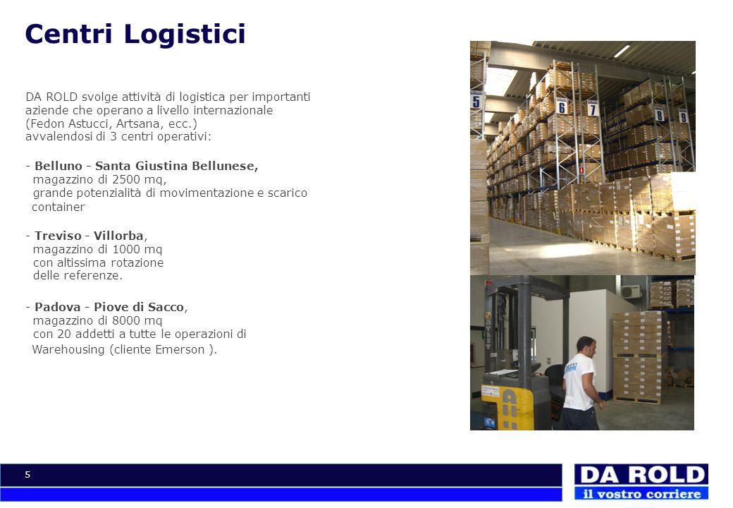 5 Centri Logistici DA ROLD svolge attività di logistica per importanti aziende che operano a livello internazionale (Fedon Astucci, Artsana, ecc.) avv