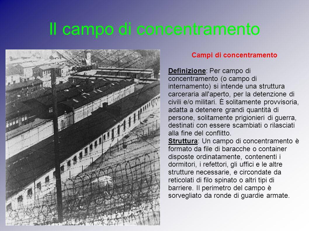 Il campo di concentramento Campi di concentramento Definizione: Per campo di concentramento (o campo di internamento) si intende una struttura carcera