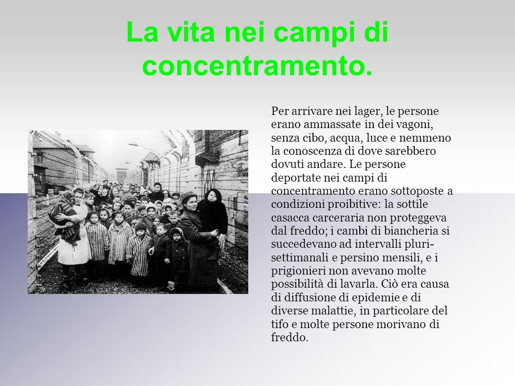La vita nei campi di concentramento. Per arrivare nei lager, le persone erano ammassate in dei vagoni, senza cibo, acqua, luce e nemmeno la conoscenza