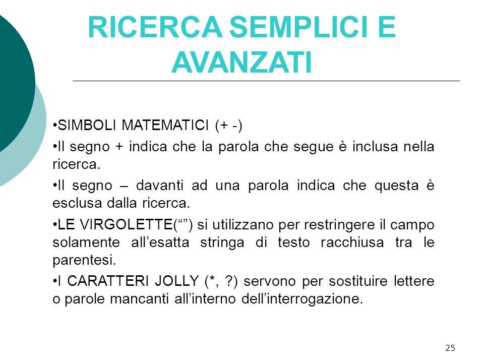 25 RICERCA SEMPLICI E AVANZATI SIMBOLI MATEMATICI (+ -) Il segno + indica che la parola che segue è inclusa nella ricerca.