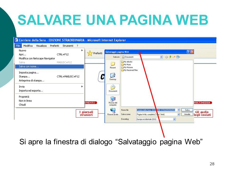 28 SALVARE UNA PAGINA WEB Si apre la finestra di dialogo Salvataggio pagina Web