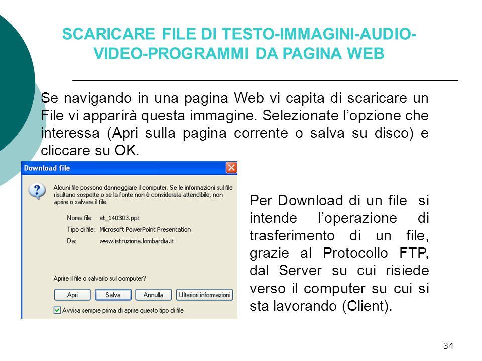 34 SCARICARE FILE DI TESTO-IMMAGINI-AUDIO- VIDEO-PROGRAMMI DA PAGINA WEB Per Download di un file si intende l'operazione di trasferimento di un file, grazie al Protocollo FTP, dal Server su cui risiede verso il computer su cui si sta lavorando (Client).