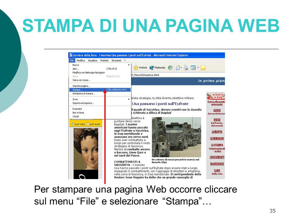35 STAMPA DI UNA PAGINA WEB Per stampare una pagina Web occorre cliccare sul menu File e selezionare Stampa …