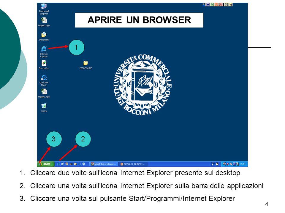4 1 23 1.Cliccare due volte sull'icona Internet Explorer presente sul desktop 2.Cliccare una volta sull'icona Internet Explorer sulla barra delle applicazioni 3.Cliccare una volta sul pulsante Start/Programmi/Internet Explorer APRIRE UN BROWSER