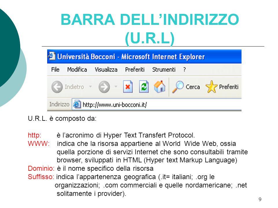9 BARRA DELL'INDIRIZZO (U.R.L) U.R.L.