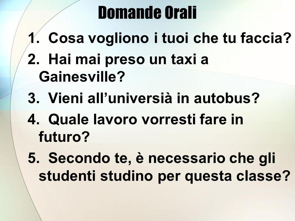 Domande Orali 1. Cosa vogliono i tuoi che tu faccia.