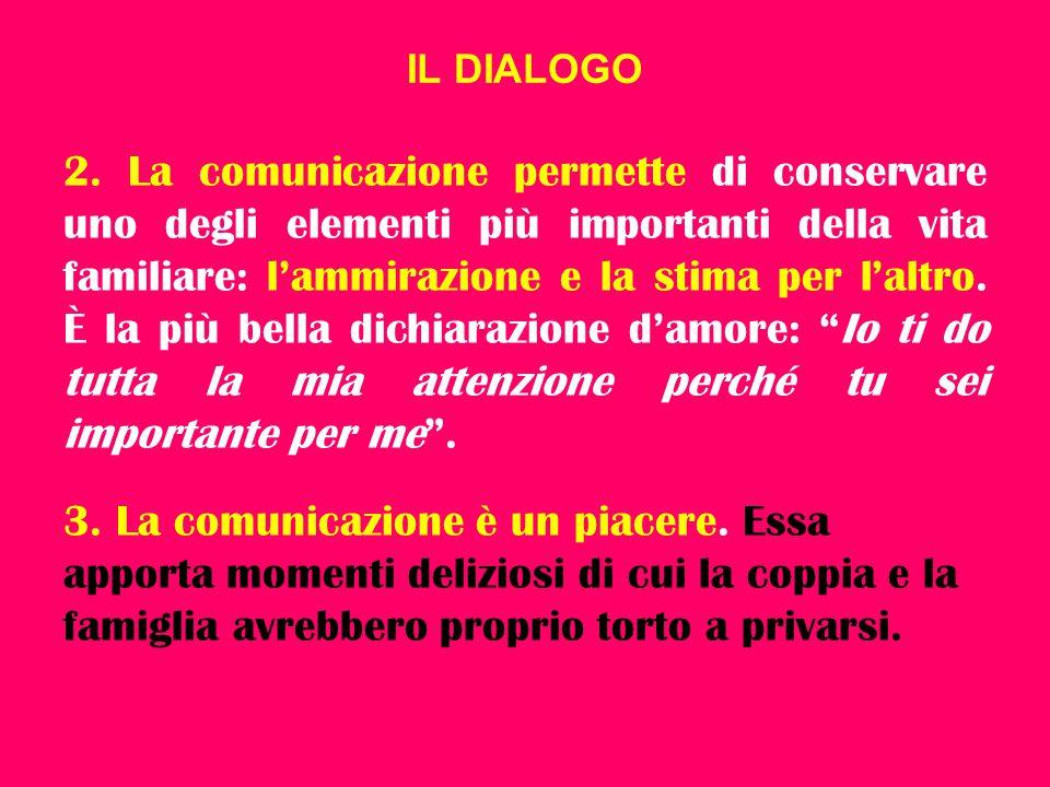 IL DIALOGO 2. La comunicazione permette di conservare uno degli elementi più importanti della vita familiare: l'ammirazione e la stima per l'altro. È