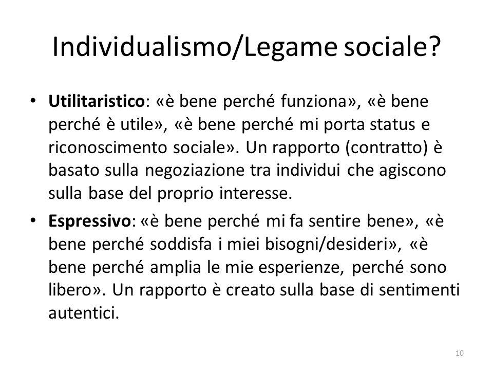 Individualismo/Legame sociale? Utilitaristico: «è bene perché funziona», «è bene perché è utile», «è bene perché mi porta status e riconoscimento soci