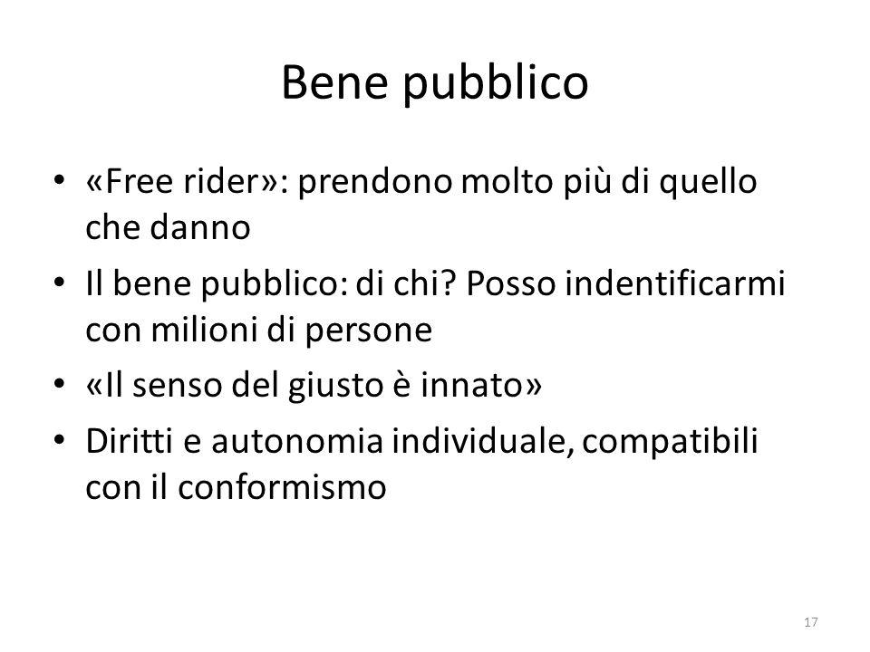 Bene pubblico «Free rider»: prendono molto più di quello che danno Il bene pubblico: di chi? Posso indentificarmi con milioni di persone «Il senso del