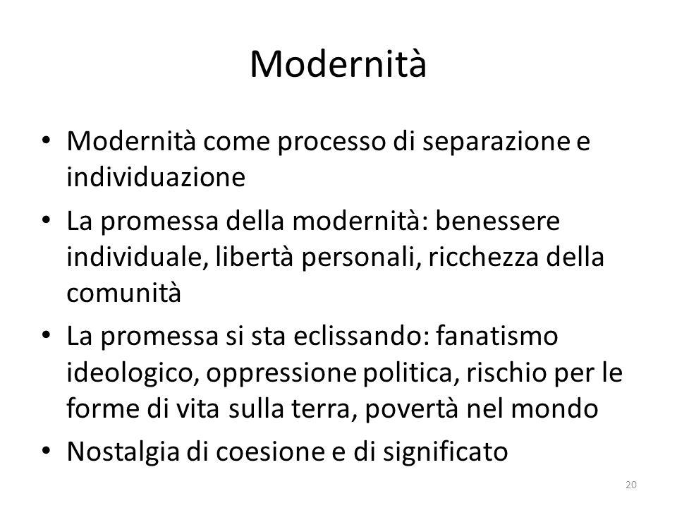 Modernità Modernità come processo di separazione e individuazione La promessa della modernità: benessere individuale, libertà personali, ricchezza del