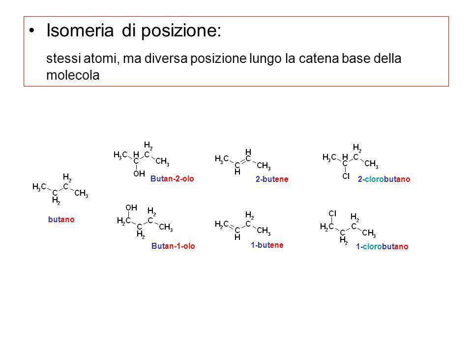 Isomeria di posizione: stessi atomi, ma diversa posizione lungo la catena base della molecola butano Butan-2-olo Butan-1-olo 1-butene 2-butene 1-cloro