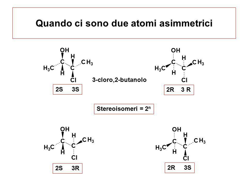Quando ci sono due atomi asimmetrici C C OH H3H3 H C C Cl H3H3 H C C OH H3H3 H C C Cl H3H3 H C C H3H3 H C C OH H3H3 H C C H3H3 H C C Cl H3H3 H 2S 3R 2