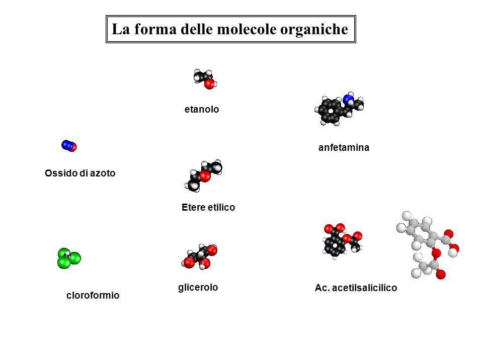 cloroformio Ossido di azoto etanolo Etere etilico glicerolo anfetamina Ac. acetilsalicilico La forma delle molecole organiche