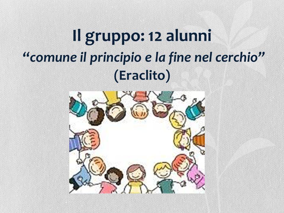 """Il gruppo: 12 alunni """"comune il principio e la fine nel cerchio"""" (Eraclito)"""