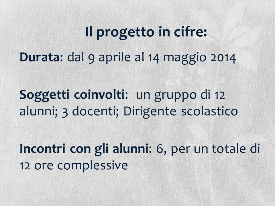 Il progetto in cifre: Durata: dal 9 aprile al 14 maggio 2014 Soggetti coinvolti: un gruppo di 12 alunni; 3 docenti; Dirigente scolastico Incontri con