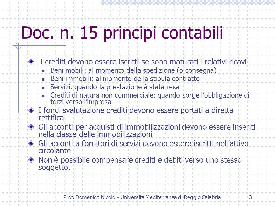 Prof. Domenico Nicolò - Università Mediterranea di Reggio Calabria3 Doc. n. 15 principi contabili i crediti devono essere iscritti se sono maturati i