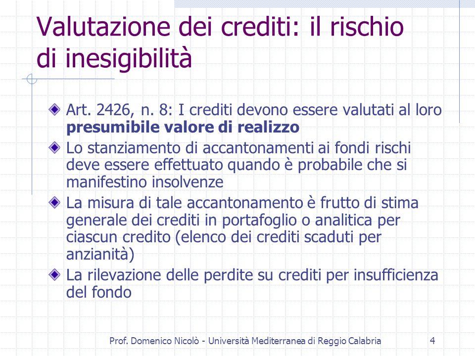 Prof. Domenico Nicolò - Università Mediterranea di Reggio Calabria4 Valutazione dei crediti: il rischio di inesigibilità Art. 2426, n. 8: I crediti de