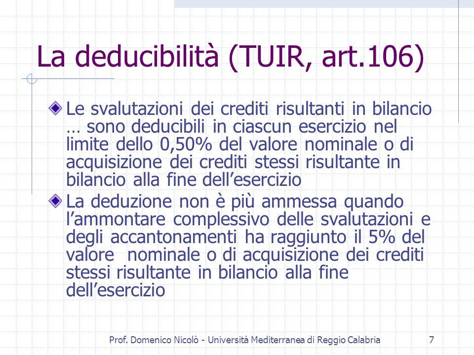 Prof. Domenico Nicolò - Università Mediterranea di Reggio Calabria7 La deducibilità (TUIR, art.106) Le svalutazioni dei crediti risultanti in bilancio