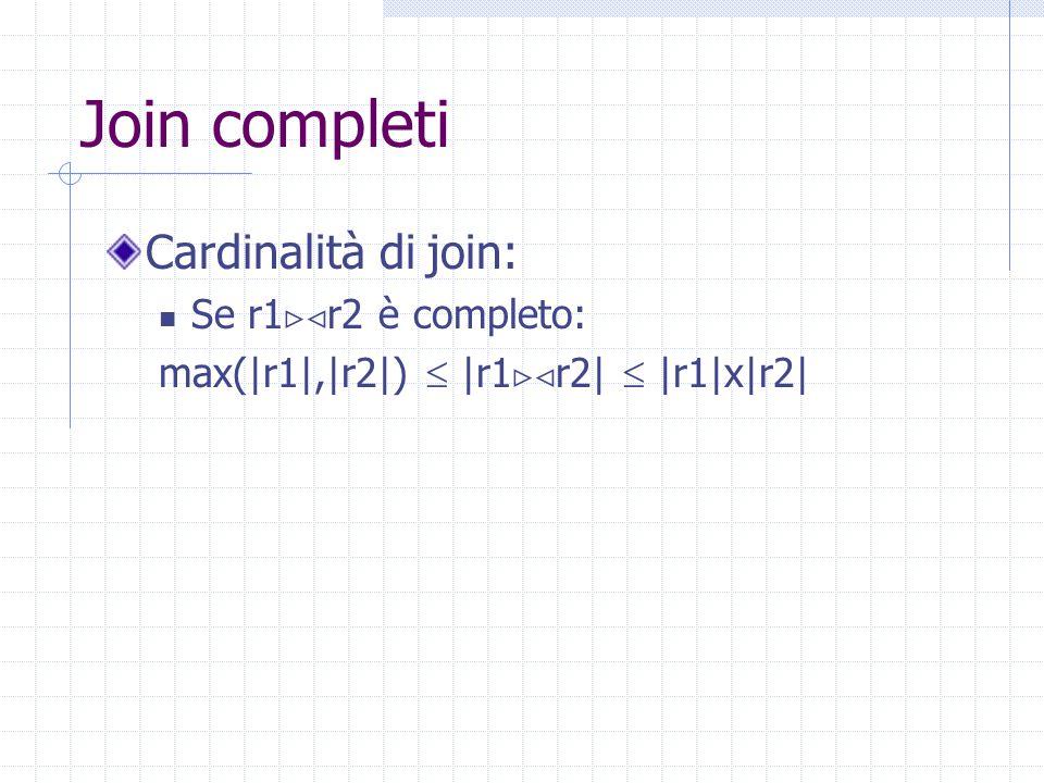 Join completi Cardinalità di join: Se r1  r2 è completo: max(|r1|,|r2|)  |r1  r2|  |r1|x|r2|