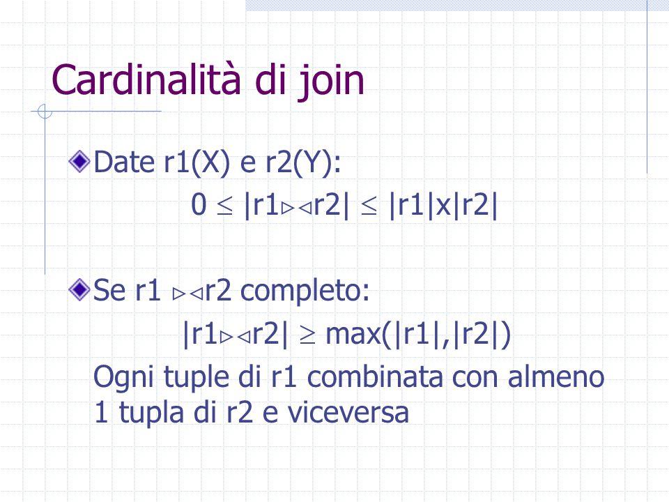 Cardinalità di join Date r1(X) e r2(Y): 0  |r1  r2|  |r1|x|r2| Se r1  r2 completo: |r1  r2|  max(|r1|,|r2|) Ogni tuple di r1 combinata con al