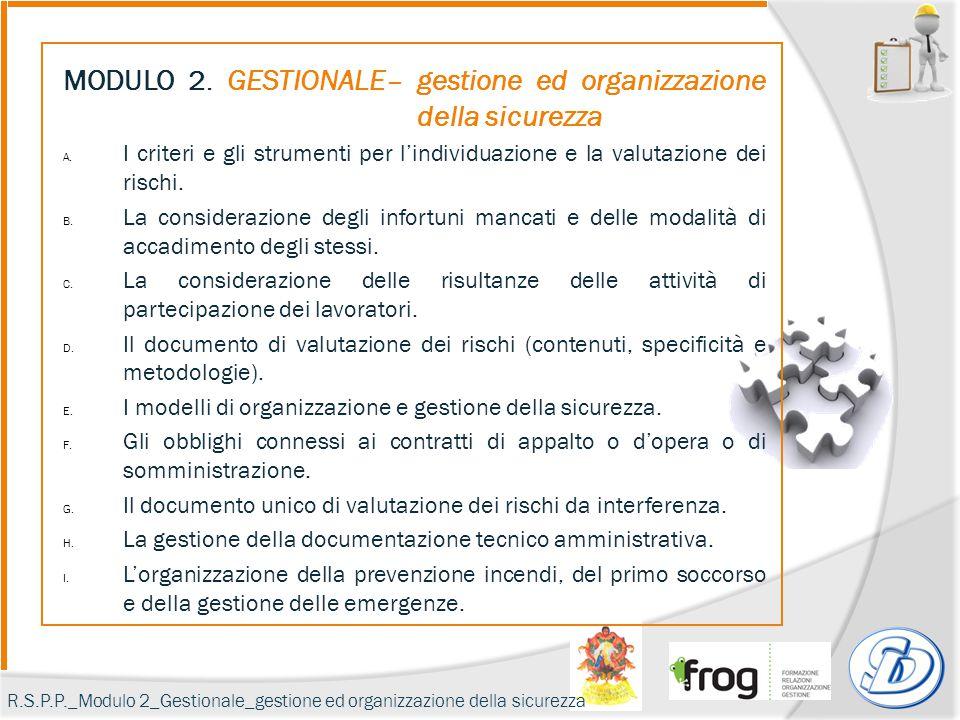 MODULO 2. GESTIONALE– gestione ed organizzazione della sicurezza A. I criteri e gli strumenti per l'individuazione e la valutazione dei rischi. B. La