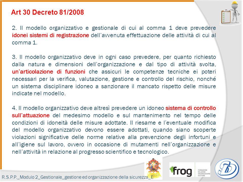 Art 30 Decreto 81/2008 2. Il modello organizzativo e gestionale di cui al comma 1 deve prevedere idonei sistemi di registrazione dell'avvenuta effettu