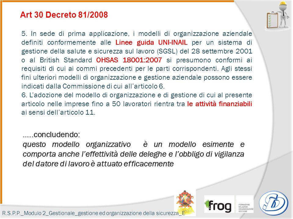 Art 30 Decreto 81/2008 5. In sede di prima applicazione, i modelli di organizzazione aziendale definiti conformemente alle Linee guida UNI-INAIL per u