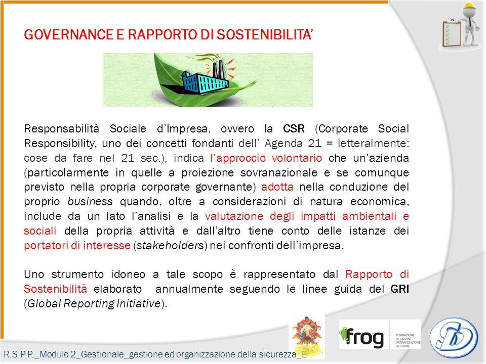 GOVERNANCE E RAPPORTO DI SOSTENIBILITA' Responsabilità Sociale d'Impresa, ovvero la CSR (Corporate Social Responsibility, uno dei concetti fondanti de