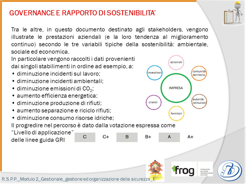 GOVERNANCE E RAPPORTO DI SOSTENIBILITA' Tra le altre, in questo documento destinato agli stakeholders, vengono illustrate le prestazioni aziendali (e