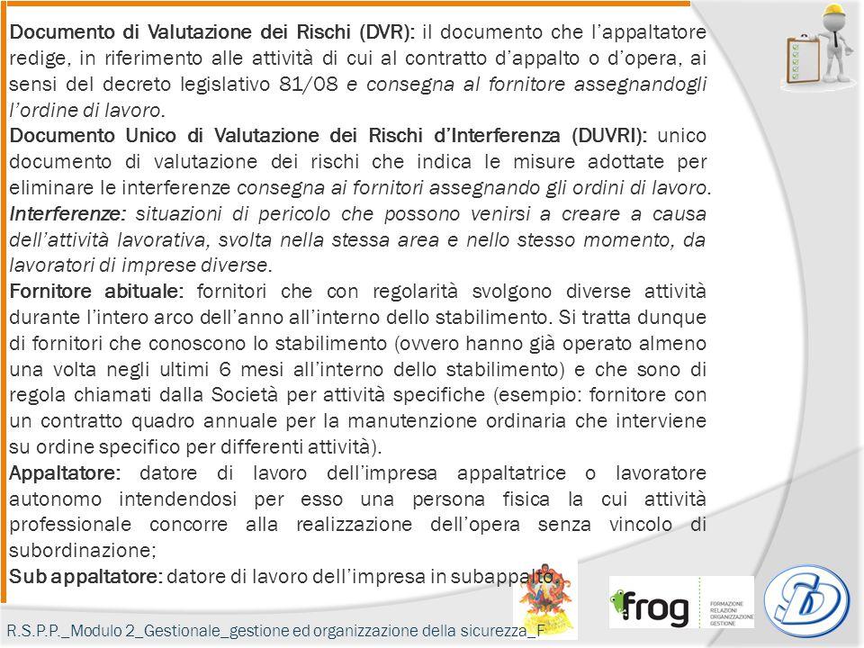 Documento di Valutazione dei Rischi (DVR): il documento che l'appaltatore redige, in riferimento alle attività di cui al contratto d'appalto o d'opera