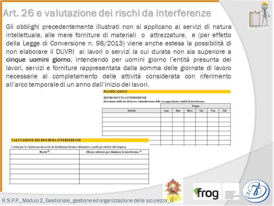 Art. 26 e valutazione dei rischi da interferenze Gli obblighi precedentemente illustrati non si applicano ai servizi di natura intellettuale, alle mer