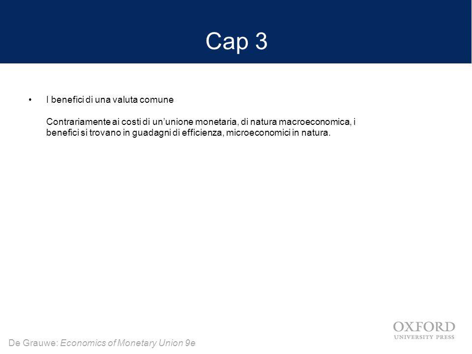De Grauwe: Economics of Monetary Union 9e Cap 3 I benefici di una valuta comune Contrariamente ai costi di un'unione monetaria, di natura macroeconomica, i benefici si trovano in guadagni di efficienza, microeconomici in natura.