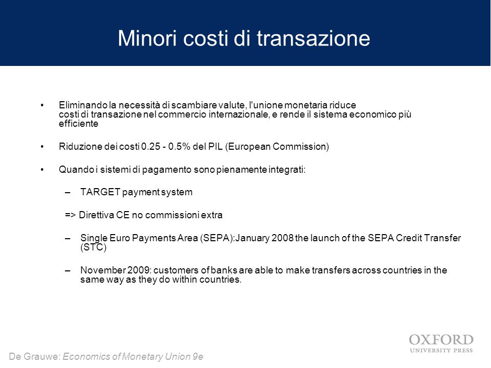De Grauwe: Economics of Monetary Union 9e Minori costi di transazione Eliminando la necessità di scambiare valute, l unione monetaria riduce costi di transazione nel commercio internazionale, e rende il sistema economico più efficiente Riduzione dei costi 0.25 - 0.5% del PIL (European Commission) Quando i sistemi di pagamento sono pienamente integrati: –TARGET payment system => Direttiva CE no commissioni extra –Single Euro Payments Area (SEPA):January 2008 the launch of the SEPA Credit Transfer (STC) –November 2009: customers of banks are able to make transfers across countries in the same way as they do within countries.
