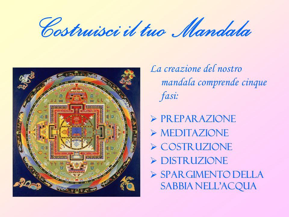 Costruisci il tuo Mandala La creazione del nostro mandala comprende cinque fasi:  PREPARAZIONE  MEDITAZIONE  COSTRUZIONE  DISTRUZIONE  SPARGIMENT