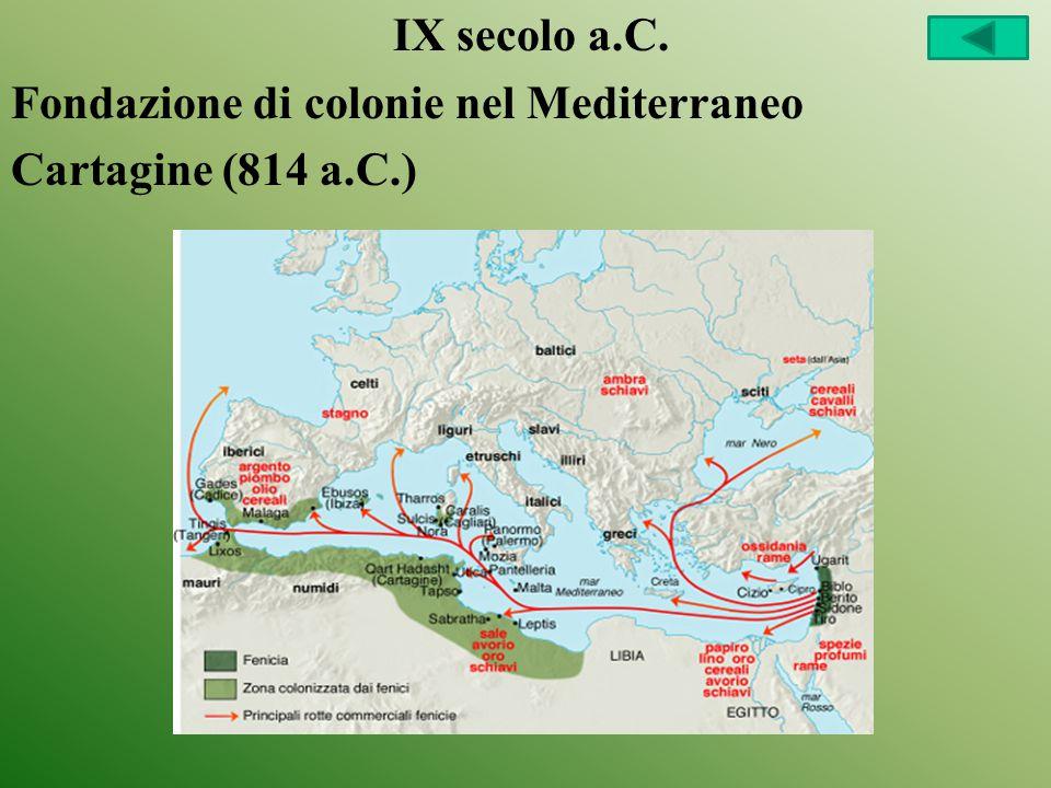 IX secolo a.C. Fondazione di colonie nel Mediterraneo Cartagine (814 a.C.)