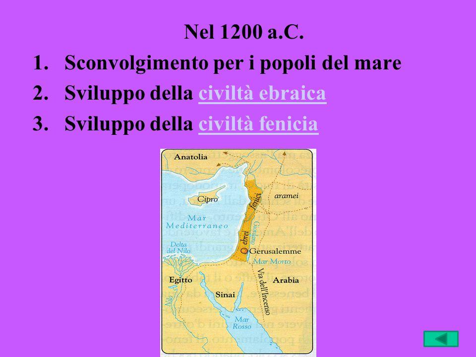 Nel 1200 a.C. 1.Sconvolgimento per i popoli del mare 2.Sviluppo della civiltà ebraicaciviltà ebraica 3.Sviluppo della civiltà feniciaciviltà fenicia