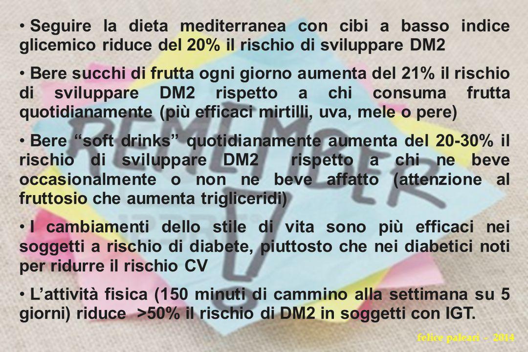 Seguire la dieta mediterranea con cibi a basso indice glicemico riduce del 20% il rischio di sviluppare DM2 Bere succhi di frutta ogni giorno aumenta
