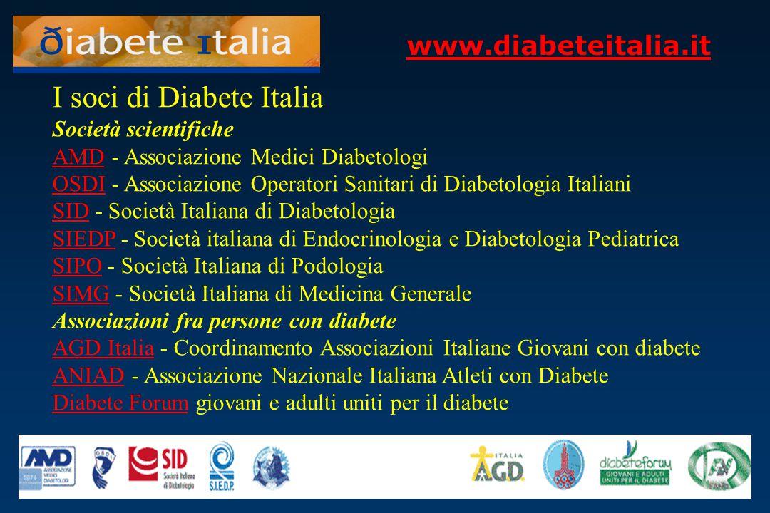 www.diabeteitalia.it I soci di Diabete Italia Società scientifiche AMDAMD - Associazione Medici Diabetologi OSDI - Associazione Operatori Sanitari di
