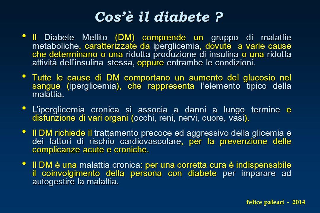 Cos'è il diabete ? Il Diabete Mellito (DM) comprende un gruppo di malattie metaboliche, caratterizzate da iperglicemia, dovute a varie cause che deter