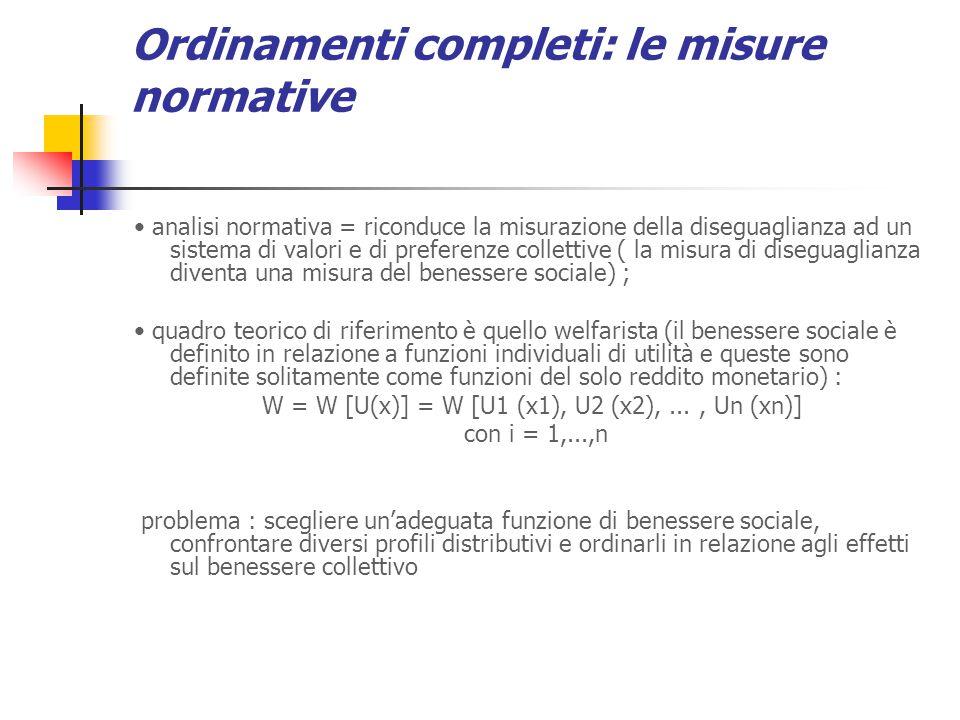 Ordinamenti completi: le misure normative analisi normativa = riconduce la misurazione della diseguaglianza ad un sistema di valori e di preferenze co