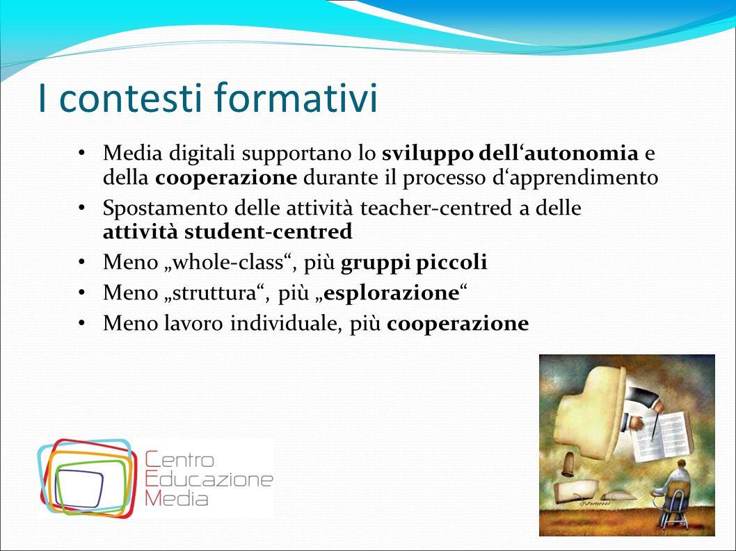I contesti formativi Media digitali supportano lo sviluppo dell'autonomia e della cooperazione durante il processo d'apprendimento Spostamento delle a