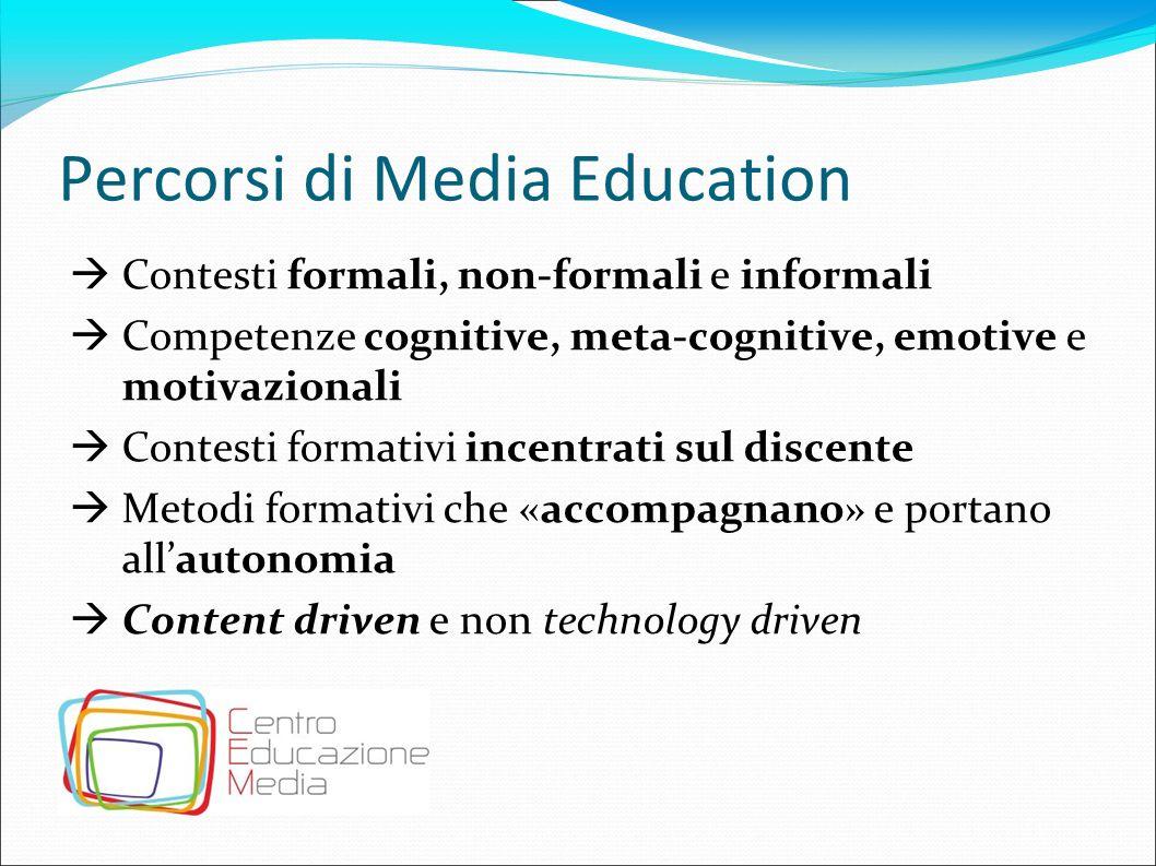 Percorsi di Media Education  Contesti formali, non-formali e informali  Competenze cognitive, meta-cognitive, emotive e motivazionali  Contesti for