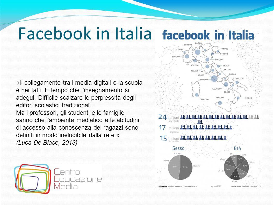 Facebook in Italia «Il collegamento tra i media digitali e la scuola è nei fatti. È tempo che l'insegnamento si adegui. Difficile scalzare le perpless