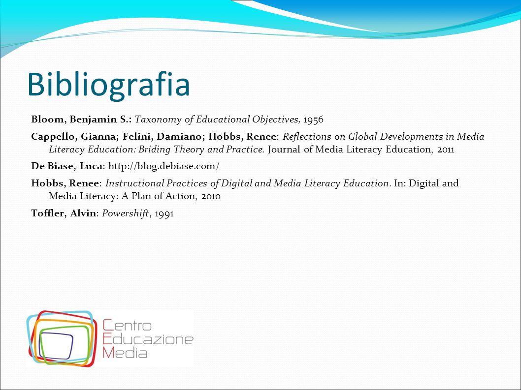 Bibliografia Bloom, Benjamin S.: Taxonomy of Educational Objectives, 1956 Cappello, Gianna; Felini, Damiano; Hobbs, Renee: Reflections on Global Devel
